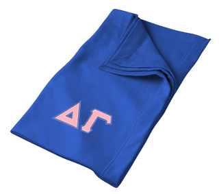 DISCOUNT-Delta Gamma Lettered Twill Sweatshirt Blanket