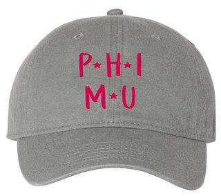 Phi Mu Starry Night Pigment Dyed Baseball Cap