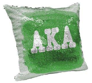 Alpha Kappa Alpha Sorority Flip Sequin Throw Pillow Cover