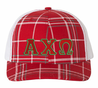 Alpha Chi Omega Plaid Snapback Trucker Hat - CLOSEOUT