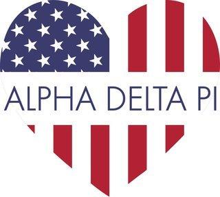 Alpha Delta Pi American Flag Greek Heart Shaped Decal
