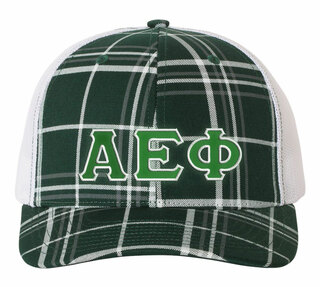 Alpha Epsilon Phi Plaid Snapback Trucker Hat - CLOSEOUT