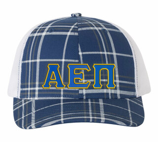 Alpha Epsilon Pi Plaid Snapback Trucker Hat - CLOSEOUT