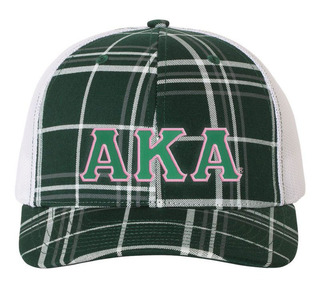 Alpha Kappa Alpha Plaid Snapback Trucker Hat - CLOSEOUT