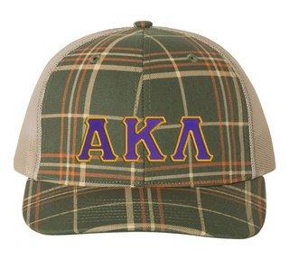 Alpha Kappa Lambda Plaid Snapback Trucker Hat
