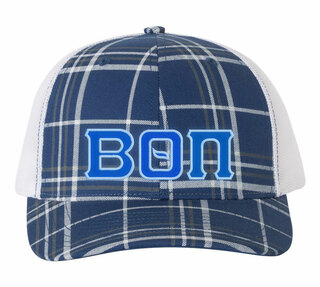 Beta Theta Pi Plaid Snapback Trucker Hat - CLOSEOUT
