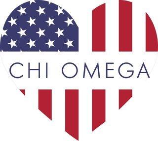 Chi Omega American Flag Greek Heart Shaped Decal