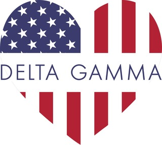 Delta Gamma American Flag Greek Heart Shaped Decal