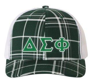 Delta Sigma Phi Plaid Snapback Trucker Hat - CLOSEOUT