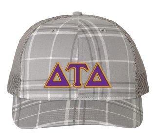 Delta Tau Delta Plaid Snapback Trucker Hat - CLOSEOUT