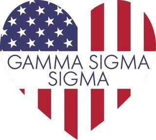 Gamma Sigma Sigma American Flag Greek Heart Shaped Decal