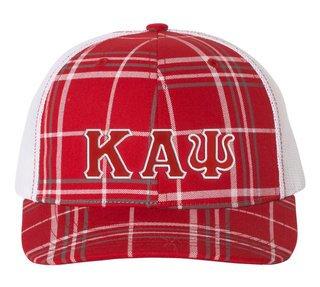 Kappa Alpha Psi Plaid Snapback Trucker Hat - CLOSEOUT