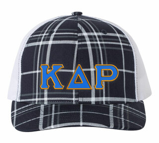 Kappa Delta Rho Plaid Snapback Trucker Hat - CLOSEOUT
