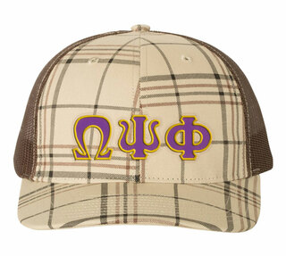 Omega Psi Phi Plaid Snapback Trucker Hat - CLOSEOUT