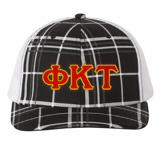 Phi Kappa Tau Plaid Snapback Trucker Hat - CLOSEOUT