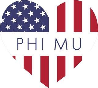 Phi Mu American Flag Greek Heart Shaped Decal