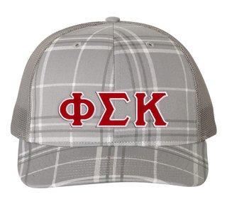 Phi Sigma Kappa Plaid Snapback Trucker Hat - CLOSEOUT
