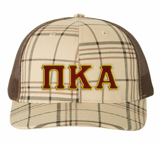 Pi Kappa Alpha Plaid Snapback Trucker Hat - CLOSEOUT