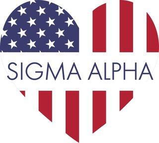 Sigma Alpha American Flag Greek Heart Shaped Decal