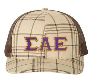 Sigma Alpha Epsilon Plaid Snapback Trucker Hat
