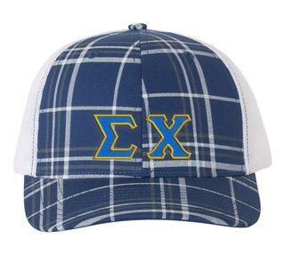 Sigma Chi Plaid Snapback Trucker Hat
