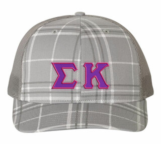 Sigma Kappa Plaid Snapback Trucker Hat - CLOSEOUT
