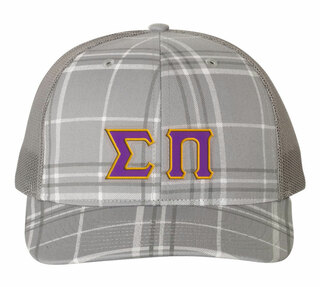 Sigma Pi Plaid Snapback Trucker Hat - CLOSEOUT