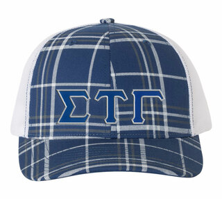 Sigma Tau Gamma Plaid Snapback Trucker Hat - CLOSEOUT