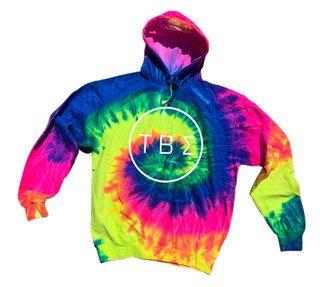 Tau Beta Sigma Neon Rainbow Tie-Dyed Pullover Hood