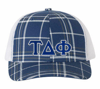 Tau Delta Phi Plaid Snapback Trucker Hat - CLOSEOUT