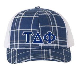 Tau Delta Phi Plaid Snapback Trucker Hat