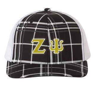 Zeta Psi Plaid Snapback Trucker Hat - CLOSEOUT