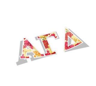 Alpha Gamma Delta Floral Greek Letter Sticker