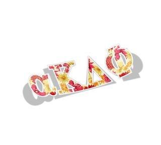 alpha Kappa Delta Phi Floral Greek Letter Sticker