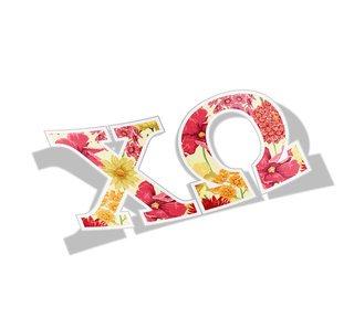 Chi Omega Floral Greek Letter Sticker