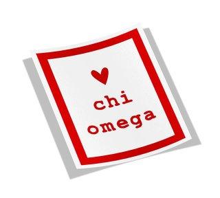 Chi Omega Simple Heart Sticker