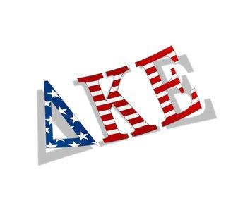 "Delta Kappa Epsilon American Flag Greek Letter Sticker - 2.5"" Tall"