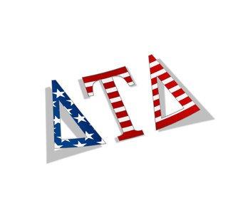 "Delta Tau Delta American Flag Greek Letter Sticker - 2.5"" Tall"