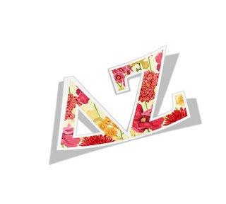 Delta Zeta Floral Greek Letter Sticker