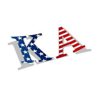 """Kappa Alpha American Flag Greek Letter Sticker - 2.5"""" Tall"""