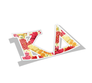 Kappa Delta Floral Greek Letter Sticker
