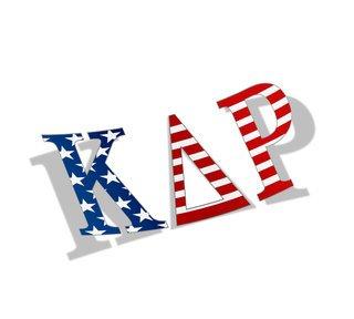 "Kappa Delta Rho American Flag Greek Letter Sticker - 2.5"" Tall"