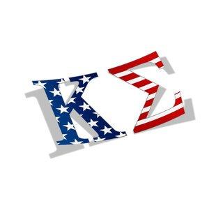 """Kappa Sigma American Flag Greek Letter Sticker - 2.5"""" Tall"""