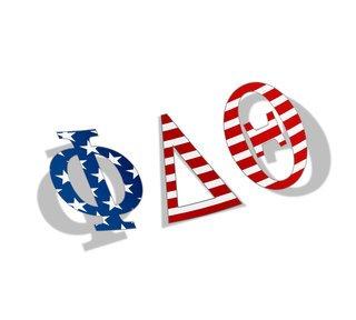 """Phi Delta Theta American Flag Greek Letter Sticker - 2.5"""" Tall"""
