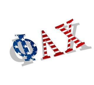 "Phi Lambda Chi American Flag Greek Letter Sticker - 2.5"" Tall"