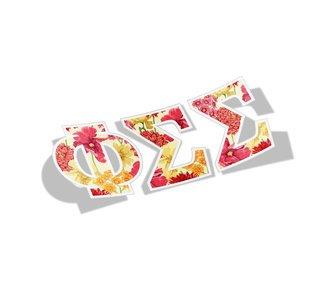 Phi Sigma Sigma Floral Greek Letter Sticker