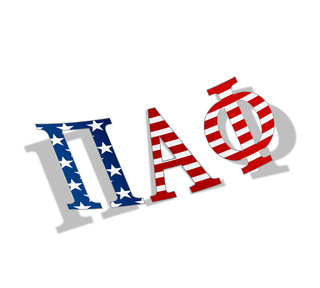 "Pi Alpha Phi American Flag Greek Letter Sticker - 2.5"" Tall"