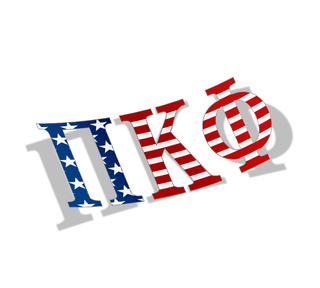 "Pi Kappa Phi American Flag Greek Letter Sticker - 2.5"" Tall"