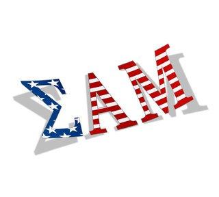 "Sigma Alpha Mu American Flag Greek Letter Sticker - 2.5"" Tall"