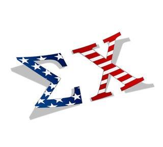 "Sigma Chi American Flag Greek Letter Sticker - 2.5"" Tall"